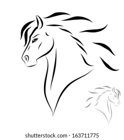 stylized horse head - side view. Black outlines - vector illustration