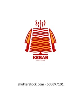 Stylized hot, freshly grilled Turkish doner kebab logo template, vector illustration isolated on white background. Creative two-colored Turkish doner kebab, shawarma logotype with meat and knives