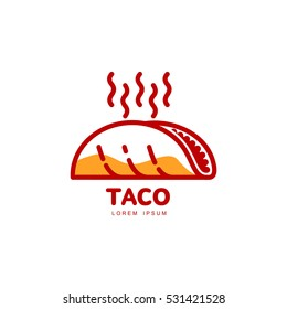 Stylized hot, freshly made Mexican taco logo template, vector illustration isolated on white background. Creative two-colored hot and spicy, Mexican taco logotype template, street food icon