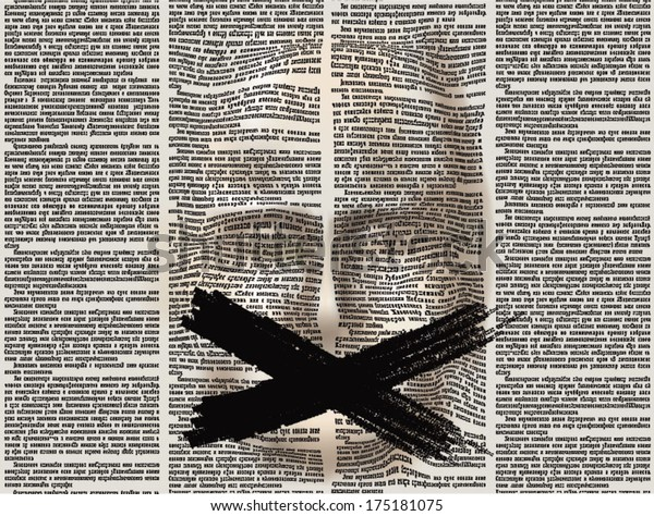 Stylized human face of the extruded surface newspaper page. Over the mouth painted black cross. Vector seamless pattern with newspaper columns. Text in newspaper page unreadable.