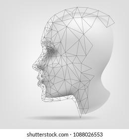 Stylized human head, polygonal mesh, 3d modeling