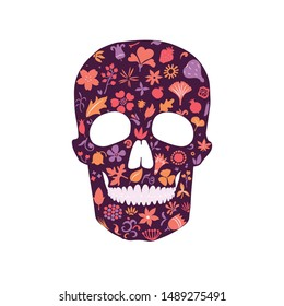 stylized human skull rich ornated with different floral doodles