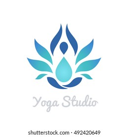 Stylized human yoga shape in abstract lotus symbol. Vector icon.