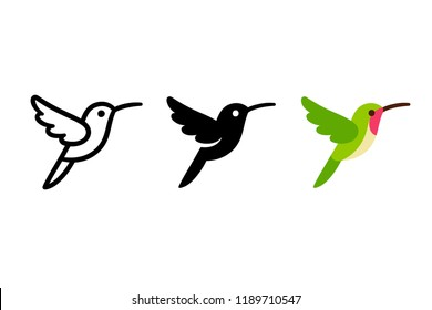 Stylized hummingbird icon or logo in different styles: line art, solid black and color. Isolated colibri symbol vector illustration.