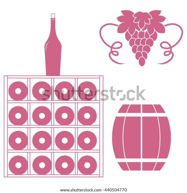 Stylized icon of a colored wine rack, bottles of wine, bunch of grapes and barrel of wine on a white background