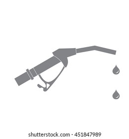 Stylized icon of the fuel gun with the fuel drops on a white background