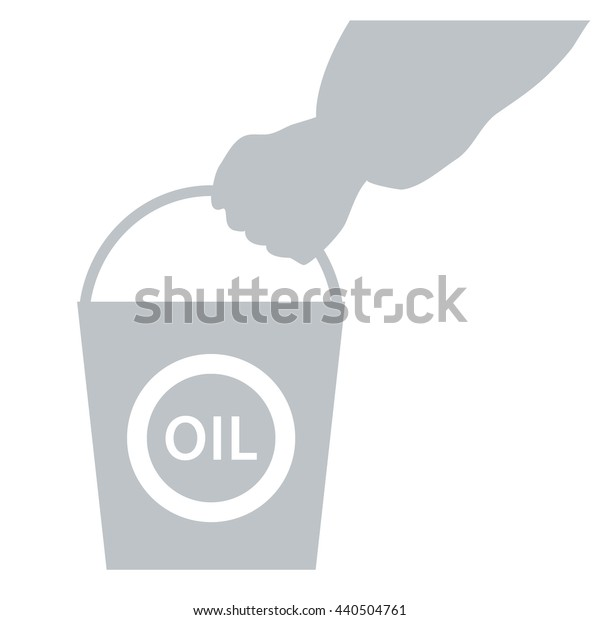 Stylized icon of the hand carrying a bucket of oil on a white background
