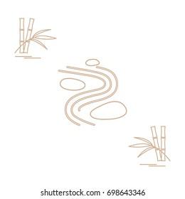 Stylized icon of minimal japanese rock garden and bamboo. Zen garden vector illustration.