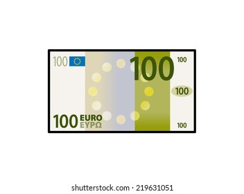 A stylized iconic colourful 100 Euro bank note / paper money.