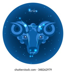 Stylized icons of zodiac signs in the night sky with zodiac bright stars constellation in front. Astrology symbol. Vector flat illustrations. Aries zodiac sign.