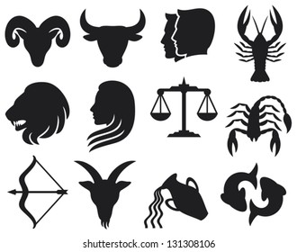 stylized icons of zodiac signs set (horoscope or astrology symbols collection)