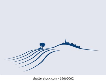 Stylized illustration a an agricultural european landscape