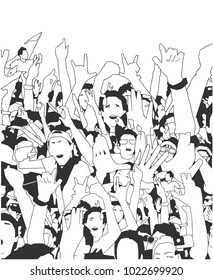 Stylized illustration, background art of party people at concert with raised hands in black and white