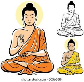Stylized illustration of Buddha, isolated on white background.