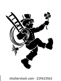 stylized illustration of chimney sweeper with hat