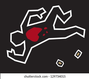 A stylized illustration of a classic crime scene with a chalk outline of the body and bullets used in the crime.