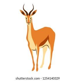 Stylized illustration of gazelle. Wild African savanna animal on white background.