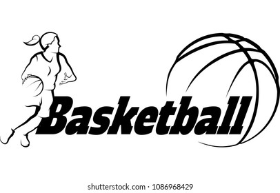 Stylized illustration of a girl basketball player driving to the basket inside a stylized ball.