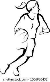 Stylized illustration of a girl basketball player driving to the basket.