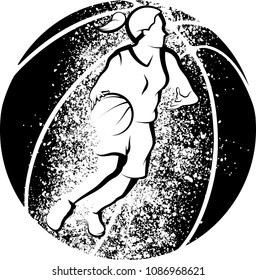 Stylized illustration of a girl basketball player driving to the basket in front of a basketball with grunge splatter.
