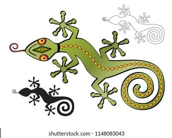 Stylized illustration of green southwestern lizard or gecko