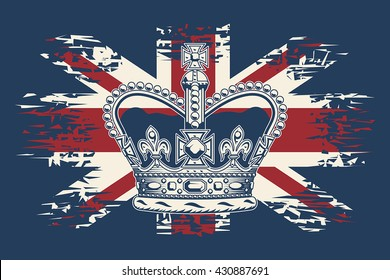 Stylized illustration of the imperial state crown on UK flag background.