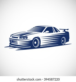 Stylized illustration of a Japanese sports car. Vector EPS10.
