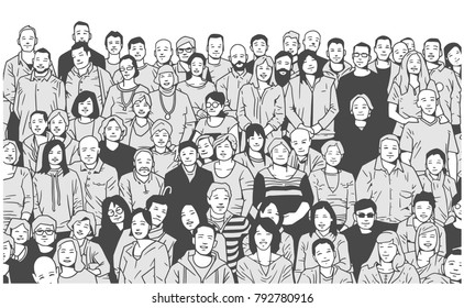Stylized illustration of large group of people smiling and posing for a photograph in black and white grey scale