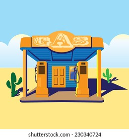 stylized illustration on the theme of road diners, old gas stations, travels, west, truckers, etc.