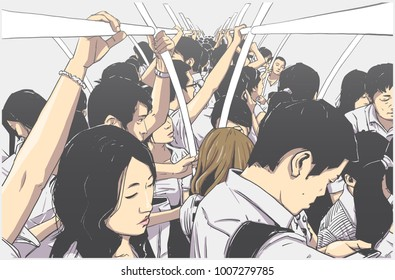 Stylized illustration of packed subway in rush hour