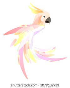 Stylized illustration of a parrot cockatoo with a multicolored tail. Vector element for logos, icons and your design