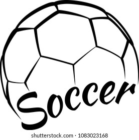 Stylized illustration of a soccer ball with a fun script type face of sport.