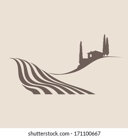 stylized illustration of a typical rural landscape in Tuscany