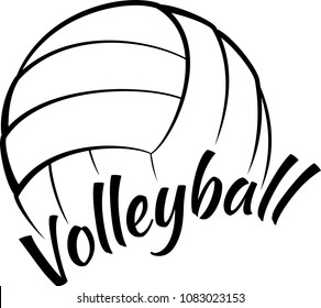 Stylized illustration of a volleyball with a fun script type face of sport.