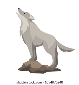 Stylized illustration of wolf. Woodland forest animal on white background.