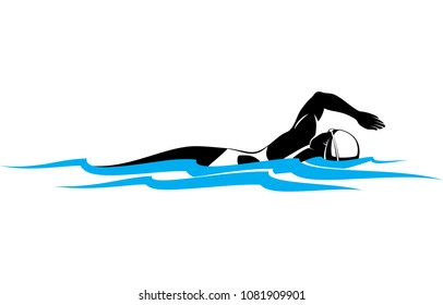 Stylized illustration of a woman swimmer swimming freestyle from a side view.