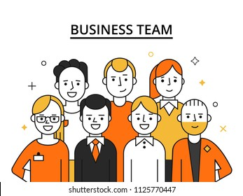 Stylized illustrations of business team. Concept picture of successful peoples. People success, teamwork professional vector
