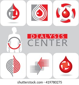 Stylized image of blood purification. Red drop, arrows. Vector symbol, sign, icon.