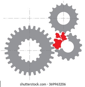 Stylized image of a broken mechanism. Vector illustration