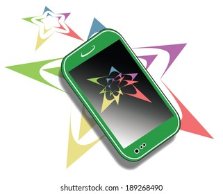A stylized image of a cell phone with stylized multicolored images of  stars in front of, behind and above the phone.