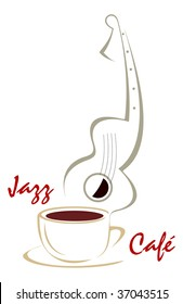 The stylized image of a cup of coffee and guitar. Can be used to design menus cafe or restaurant. Color vector illustration, isolated.