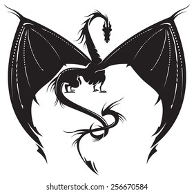 Stylized image of Dragon in black and white.