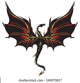 Stylized image of Dragon tattoo in black, golden and red.