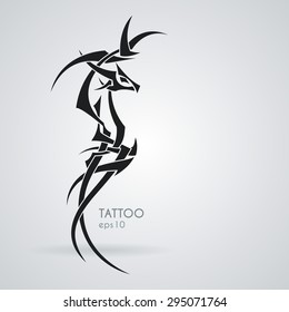 The stylized image of a dragon. Vector. Tattoo.