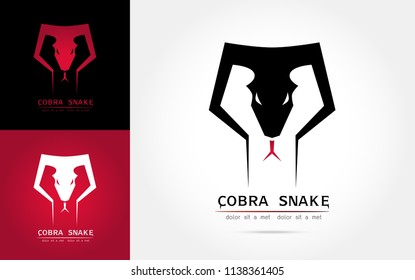 Stylized image of graceful cobra snake  silhouette logo icon emblem  template ,set of cobra head, cobra snake  tattoo on white background Vector illustration