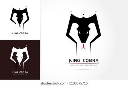 Stylized image of graceful king cobra snake  silhouette logo icon emblem  template ,set of cobra head, cobra snake  tattoo on white background Vector illustration