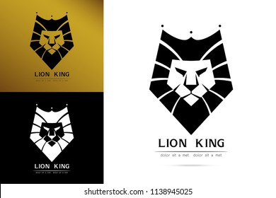Stylized image of graceful Lion king silhouette logo icon emblem  template ,set of lion head, lion tattoo on white background Vector illustration