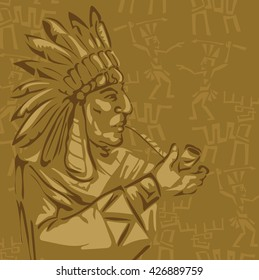stylized image of Indian smoking pipe vector