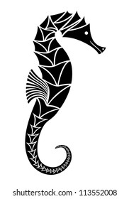 Stylized image of seahorse black and white