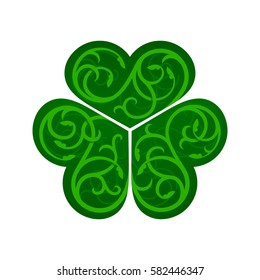 Stylized image of shamrock with celtic ornament on a white background.